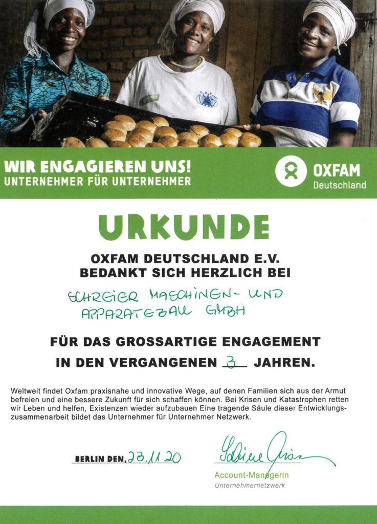 Urkunde Oxfam